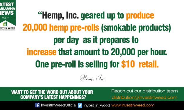 Hemp, Inc. Increases Pre-Roll Production